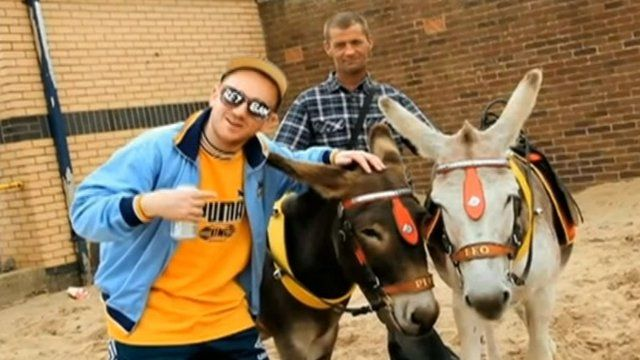 Rapper with donkeys in Skegness