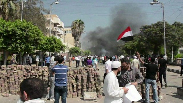 Barricades and protesters in Zagazig on Wednesday 14 August