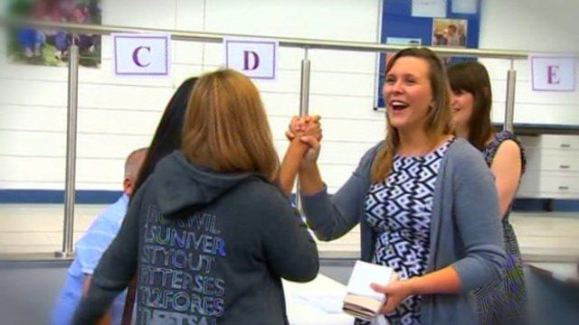 Students celebrating A-level success on Thursday