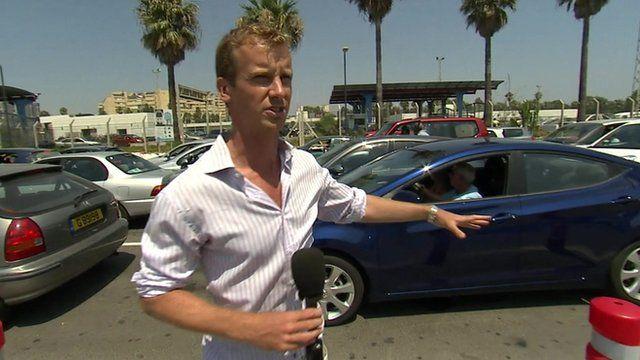 Tom Burridge on the Gibraltar border