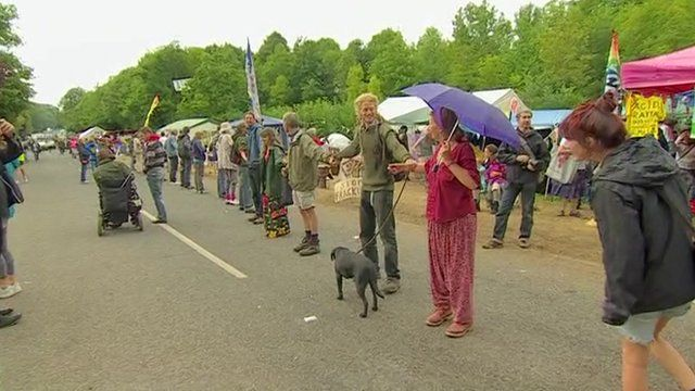Fracking protesters forming a human chain