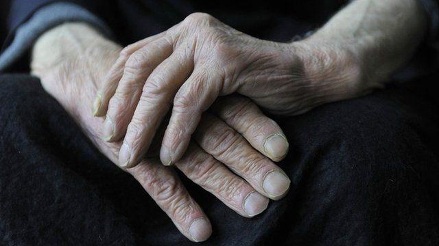 Hands of elderly man with dementia
