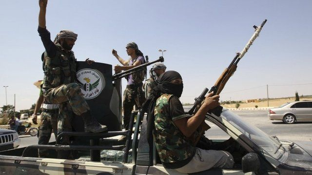 "Members of ""Free Men of Syria"" brigade, operating under the Free Syrian Army"