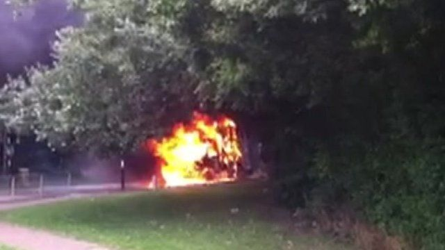 Prison van on fire in Chelmsford