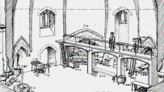 Drawing of how the abbey kitchen was laid out
