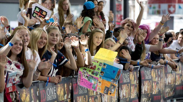 One Direction fans in Leicester Square in London.
