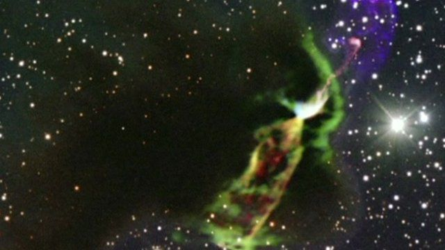 Streams of glowing material from the new star in the constellation Vela