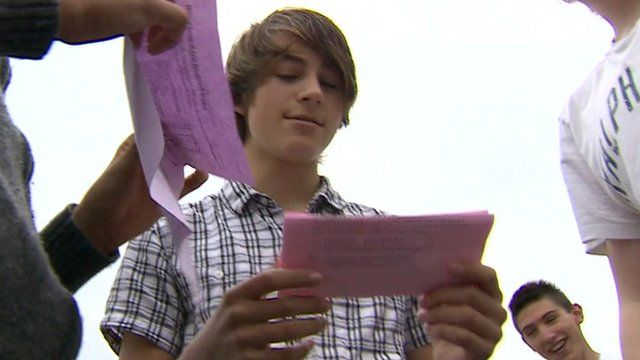 Boys looking at their GCSE results