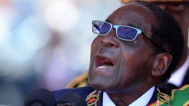 Zimbabwe's Robert Mugabe addresses his inauguration ceremony at the 60,000-seater sports stadium in Harare