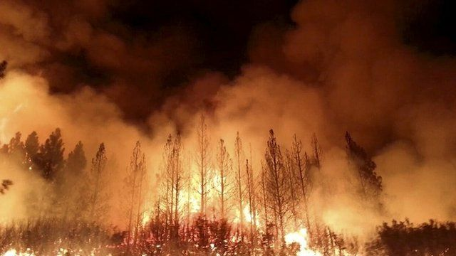 US Forest Service photo of the Rim Fire near Yosemite National Park, California