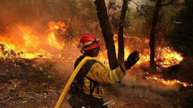 Wildfires near Yosemite National Park