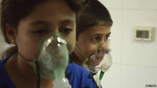Children in Syria affected by what activists say was a gas attack