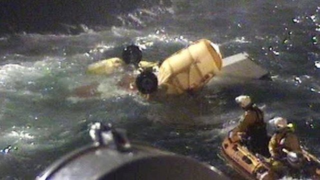 RNLI volunteers retrieved helicopter wreckage