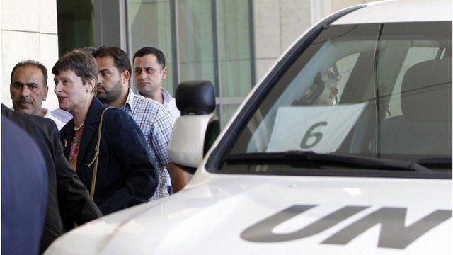 Angela Kane arrives in Damascus