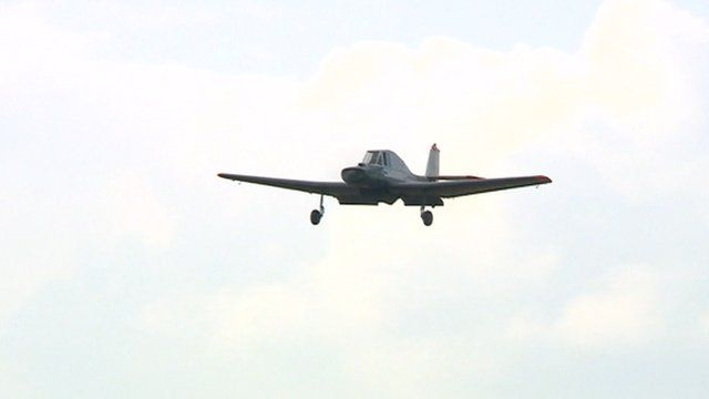 An Auster arrives in Leicestershire to take part in the 40th anniversary of the International Auster Club