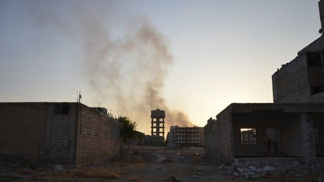 A view of Zamalka area, in what activists say chemical weapons have been used
