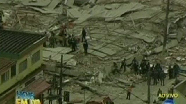 Brazilian TV pictures show the wreckage of a commercial building that collapsed in the east of Sao Paulo