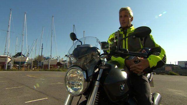 Richard Drax MP on his motorbike