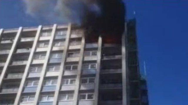 Fire in a 10th floor flat in Woodford Green