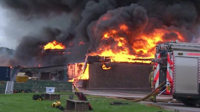 A fire rips through the science block at St Mary's Catholic Technology College in Leyland.