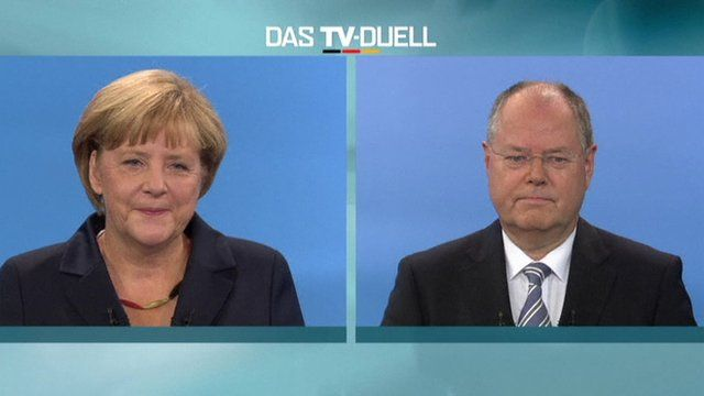 Angela Merkel and Peer Steinbrueck hold a televised election debate