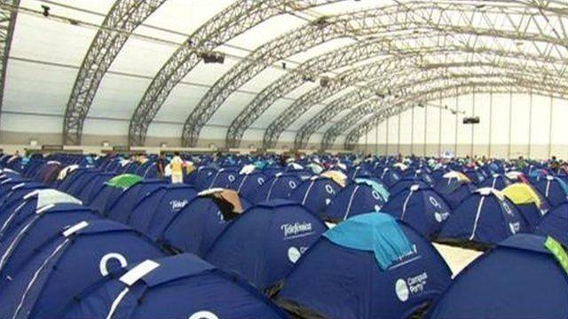 Rows of tents at the O2