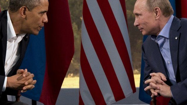 This June 17, 2013 file photo shows President Barack Obama meeting with Russian President Vladimir Putin in Enniskillen, Northern Ireland