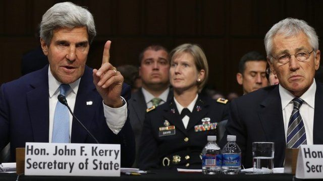 US Secretary of State John Kerry and Secretary of Defence Chuck Hagel
