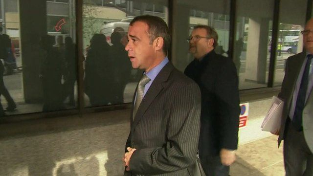 Michael Le Vell (centre) arriving at Manchester Crown Court this morning