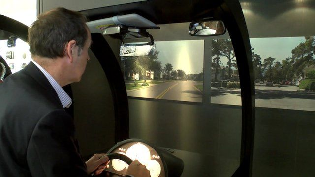 Rory Cellan-Jones tries out a sat-nav which is projected onto a car's windscreen