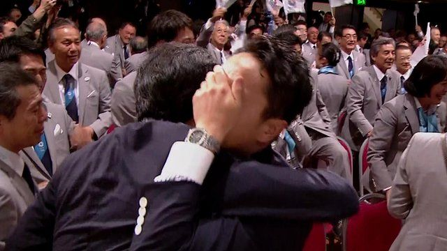 Tokyo bid supporters react to the announcement