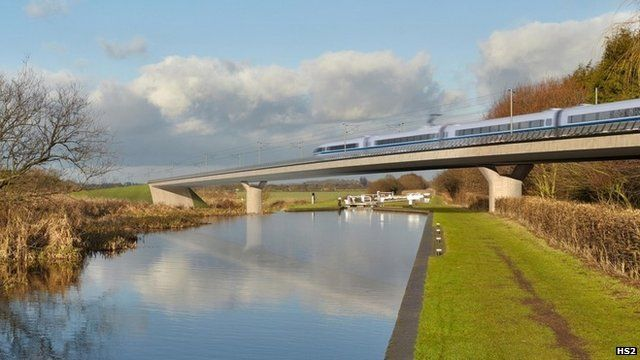 Computer graphic showing HS2 train
