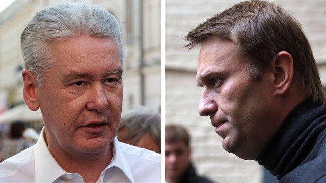 Sergei Sobyanin and Alexei Navalny