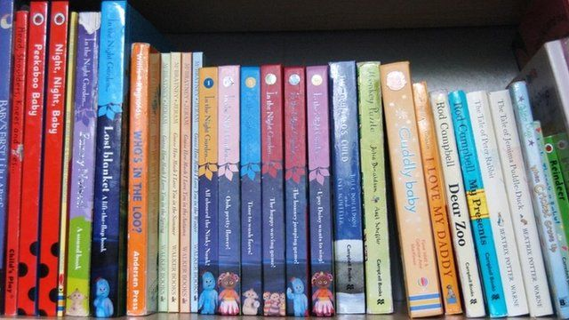 A row of children's books
