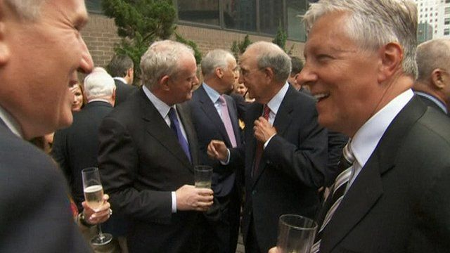 Martin McGuinness, George Mitchell and Peter Robinson