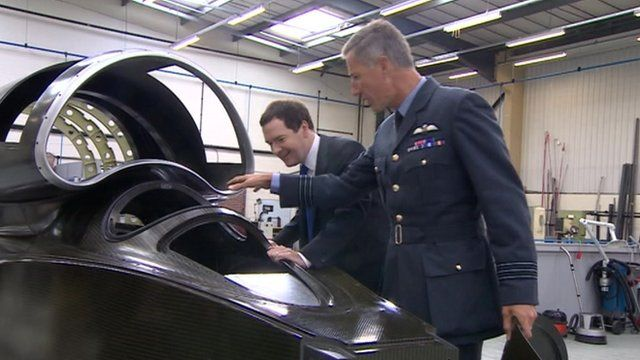 Chancellor George Osborne and Wing Commander Andy Green from the Bloodhound SSC project