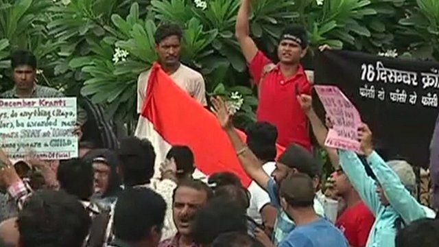 Protesters outside Delhi court