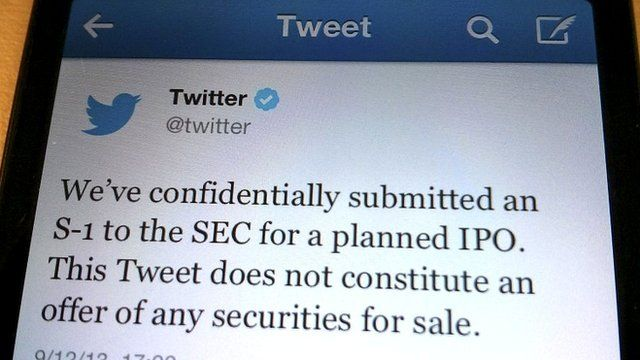 Tweet announcing the initial public offering