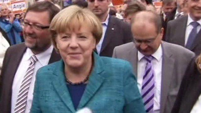 Angela Merkel campaigning
