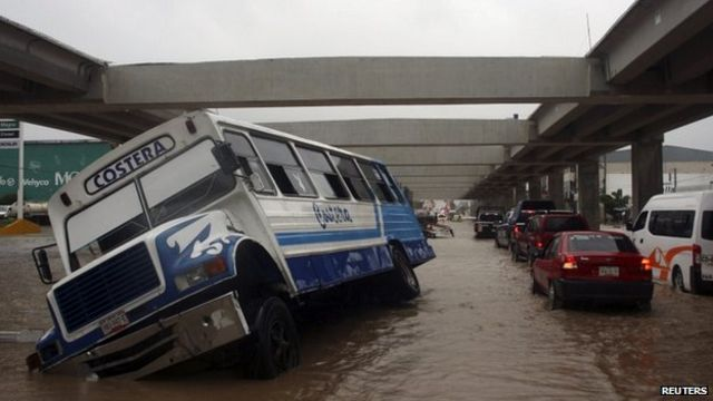 Mexico hit by Hurricane Ingrid and Tropical Storm Manuel