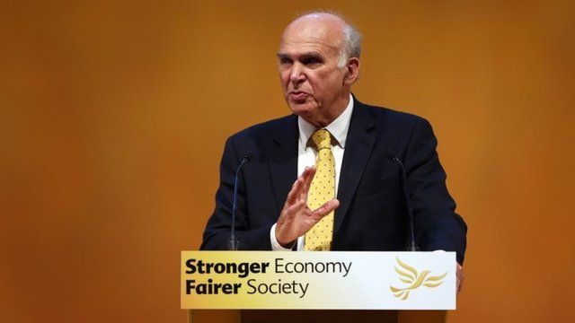 Business Secretary Vince Cable speaks at the Liberal Democrat Annual Conference Party