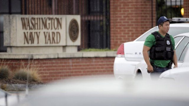 A law enforcement officer outside the Washington Navy Yard