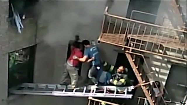 Dramatic fire rescue
