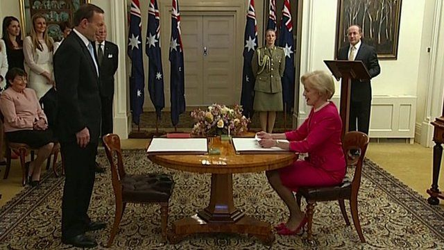 Tony Abbott sworn in as Australian PM
