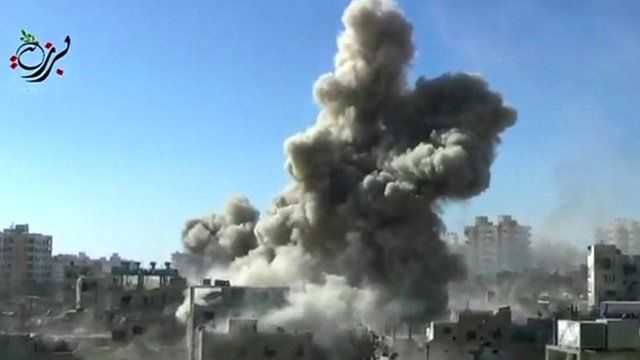 Unverified footage appearing to show government strike on rebel area