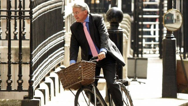 Andrew Mitchell arriving at Downing Street on his bicycle.