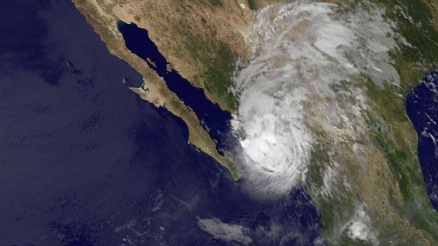 A satellite image of Hurricane Manuel over north-west Mexico