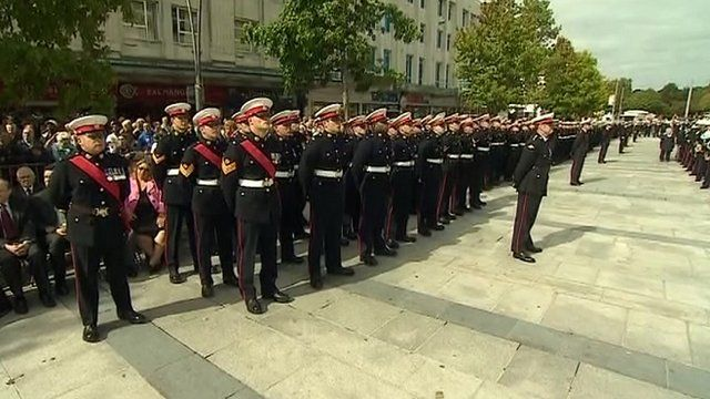 Service personnel in Plymouth city centre