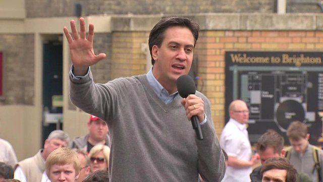 Ed Miliband speaking in Brighton