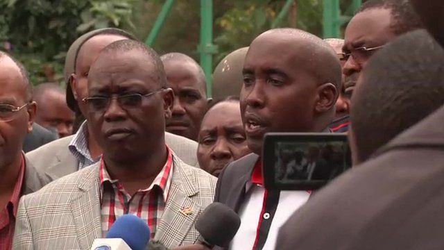 Interior Minister Joseph Ole Lenku briefing reporters
